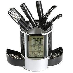 Wanrane Digital LED Desk Clock Pen Holder Mesh Pen Pencil Holder Calendar Timer Temperature,Black