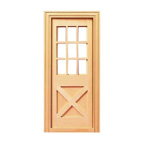 Dollhouse Miniature Playscale Crossbuck Exterior Door by Houseworks, - Crossbuck Door