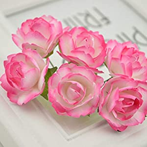 Vivavivo1234 Wreath Material Artificial Flowers Paper Rose Artificial Flowers Scrapbooking for Wedding Car Decoration Handicraft 7 77