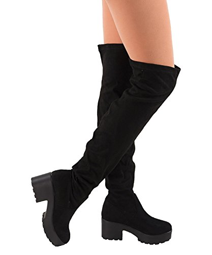 Womens Thigh High Platform Boots Sexy Chunky Block Heel Stretch Pull on Over The Knee Tall Boots Black (Heel Knee Sexy Shoe)