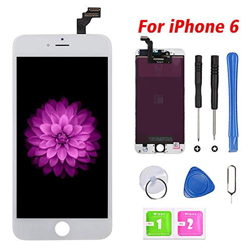 FFtopu Compatible for iPhone 6 Screen Replacement White (4.7''), LCD Display & Touch Screen Digitizer Frame Assembly with Repair Tools and Professional Replacement Manual Includ (Lcd Iphone 6 White)