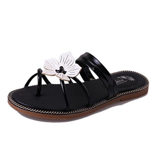 Cyber mode Été Bohème Plat Pantoufles Sandales Pour Les Femmes Floral Strappy Chaussures De Plage Noir