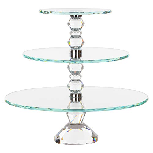 Crystal Cake Platter - Amalfi Decor 3-Tier Glass Crystal Dessert Cupcake Stand, Large Food Wedding Party Event Party Serving Display Platter Pedestal