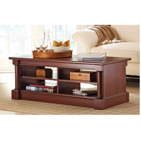 Coffee Table Cherry Finish Wood Style Living Room Furniture Console