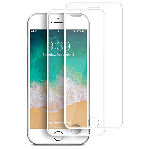 [2 Pack] iphone 6, 6s, 7, 8 Screen Protector, Tentoki Full Coverage HD Tempered Glass Film [Dustproof Design] [Case-Friendly] 3D Touch Responsive Edge to Edge Protection for iphone 6/6s/7/8 (White)