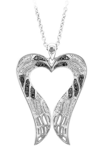 Sterling Silver Angel Feather Wing heart shaped White and Black Diamond Pendant Necklace 0.29 Carat