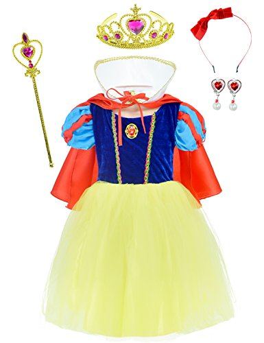 Princess Snow White Costume For Girls Dress Up With Accessories 2-3 Years(100cm) - Snow White Deluxe Outfit