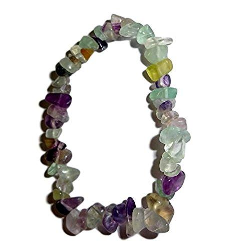 1pc Natural Healing Crystal Fluorite Chip Premium Quality Gemstone 7 Inch Stretch Bracelet