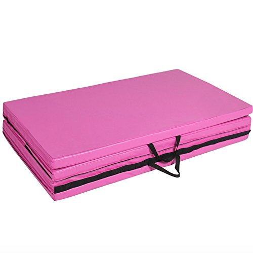 Pink 4″X8″X2″ Folding Panel PU Leather Gymnastics Yoga Tumbling Pad Aerobics Stretching Thick Exercise Fitness Floor Mat For Home And Kids