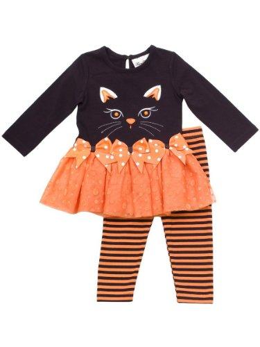 Jewel-Eye Kitty Cat Face Applique Dress/Legging Set, OR6CT, Black, Rare Editions Newborn Halloween Apparel