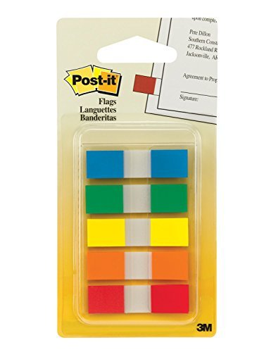 """""""Post-it Flags with On-the-Go Dispenser, Assorted Primary Colors, 1/2-Inch Wide, 100/Dispenser, 1-Dispenser/Pack, 2-PACK"""""""