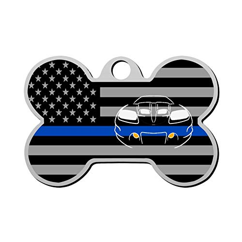 GPZHM Thin Blue Line USA Flag Deluxe Car Pet ID Tags Personalized Custom Print Bone Shape Dog Tags & Cat Tags