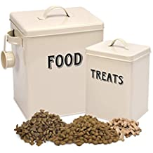 Pet Food and Treats Containers Set with Scoop for Cats or Dogs by Silky Road - Vintage Cream Powder-Coated Carbon Steel - Tight Fitting Lids - Storage Canister Tins