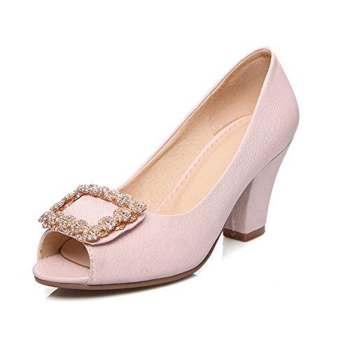 BalaMasa Womens Metal Ornament Glass Diamond Chunky Heels Imitated Leather Pumps-Shoes Pink eIi11TSW