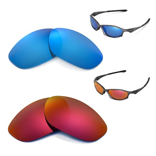 New Walleva Polarized Fire Red + Ice Blue Lenses for Oakley Hatchet Wire Sunglasses (Hatchet Wire)