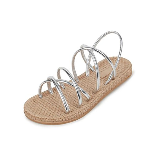 Lolittas Summer Sandals for Women Ladies Size 2-6,Boho Beach Espadrille Wedding Strappy Lace up Peep Toe Flatform Cushioned Wide Fit Outdoor Shoes Sliver