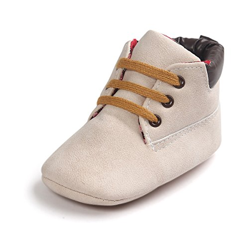 Price comparison product image R&V 0-18M Infant Baby Boy Girl Faux Suede Sneakers Toddler Warm Short Boots 10 Colors (M (Insole: 12cm),  Beige)