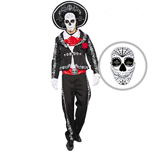 Day Of Dead Halloween Mask (Spooktacular Creations Mens Day of The Dead Mariachi Senor Adult Costume Set Halloween Dress Up Party, Dia de Los Muertos (X-Large))