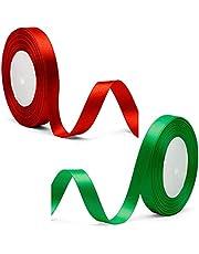 Satin Ribbon, 2 PCS Red & Green Silk Ribbon for Gift Wrapping, Braiding, Birthday, Wedding, Scrapbooking Decoration (0.6inch)