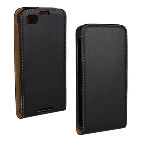 Blackberry Z30 Case, LU2000 High-end Flip Case Genuine Real Leather Up&Down Open Phone Case Shell Cover Black Color Fit for Blackberry Z30 AT&T Verizon & Sprint from All Carrier - Blackberry Z30 Leather Case
