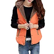 NUWFOR Outwear Women Casual Thicken Qulited Hooded Faux Fur Vest Padded Fleece Jacket for Winter/Autumn White