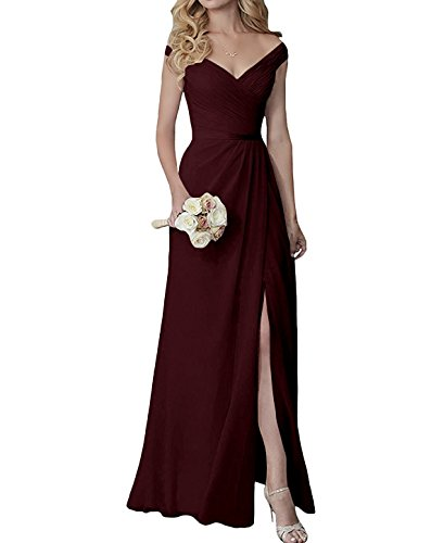 Yilis Elegant V-Neck Chiffon Slit Long Bridesmaid Dress Wedding Evening Dress Burgundy US8 from Yilis