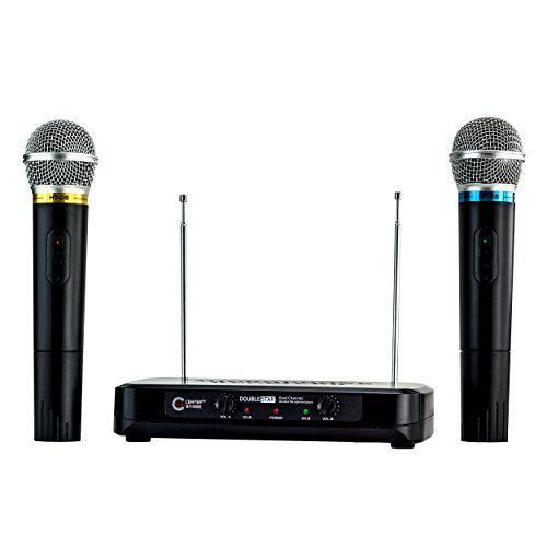 CenterStage DoubleStar- Dual Handheld Wireless Microphone System- Easy Plug And Play Set Up- From Family Karaoke to Professional (Handheld Wired Microphone)