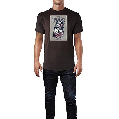 SINUS ART ® Grunge Mädchen mit Rosen - Timeless Herren T-Shirts in Schokolade braun Fun Shirt mit tollen Aufdruck