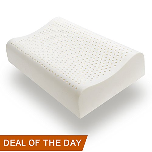 Natural Latex Pillow for Sleeping, YiiMO Breathable Ergonomic Contour Pillows for Neck/Shoulder Pain and Fatigue Relief