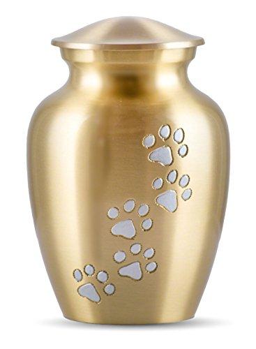 Best Friend Services Ottillie Paws Series Pet Urn Brass with Vertical Pewter Paws (Medium) ()