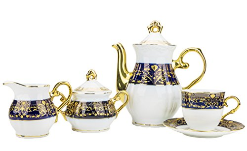 Majestic Porcelain CSC17, Porcelain 24K Gold-Plated Vintage Dining Tea Set for 6, 15-Piece Set: 1 Tea Pot, 1 Creamer, 1 Sugar Bowl, 6 Cups and 6 Saucers