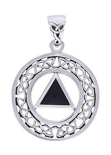 (Sterling Silver Celtic Recovery Symbol Pendant with Faux Black Onyx Stone )