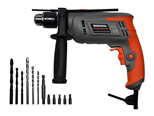 Terratek 810W Hammer Drill, Powerful Variable Speed Electric Drill Complete...