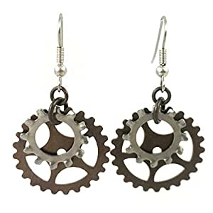 Surgical Steel and Brass Dangle Earrings Steampunk Gears Industrial Gothic