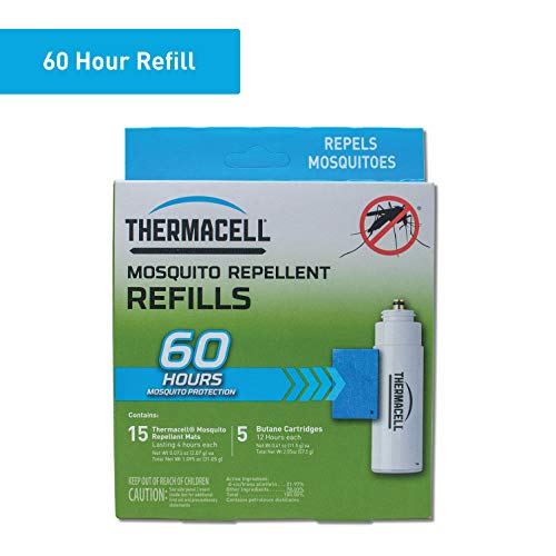 - Thermacell Mosquito Repellent Refills, 60-Hour Pack; Contains 15 Repellent Mats, 5 Fuel Cartridges; Compatible with Any Fuel-Powered Thermacell Product; No Spray, Scent, Mess; 15 Ft Zone of Protection