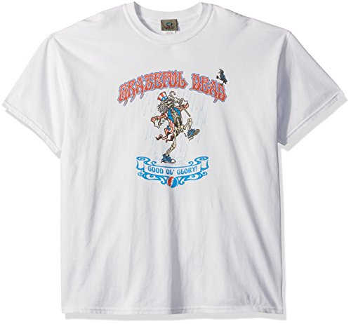Liquid Blue Men's Grateful Dead Good Ol' Glory Dancing Uncle Sam Skeleton Short Sleeve T-Shirt, White, X-Large