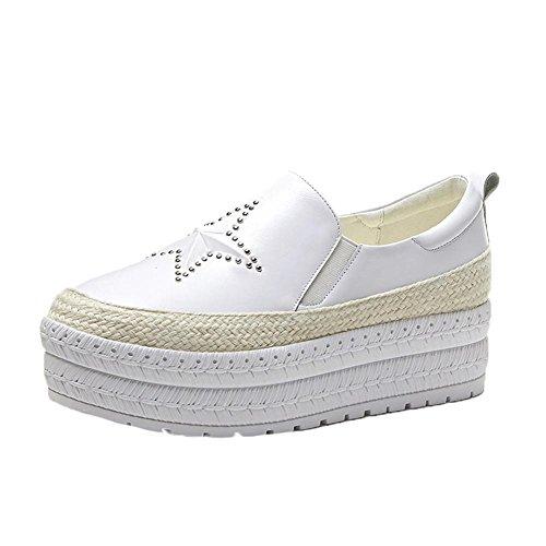 KJJDE Zapatos con Plataforma Mujeres WSXY-A3218 Patrón Estereoscópico de Pentagrama Creativo Plataforma Sólido blanco