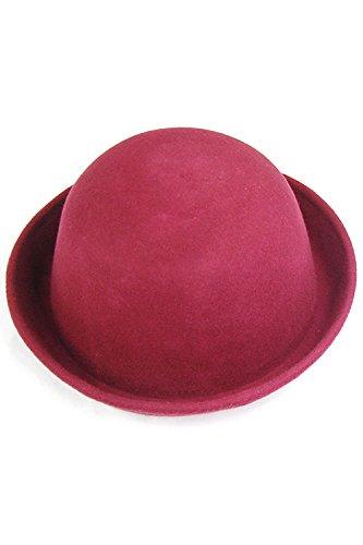 SODIAL(R) Vogue Vintage Fashion Women's Cute Wool Trendy Bowler Derby Cap Men's Cloche - Wine Red