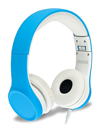 Nenos Kids Headphones Children Headphones Kids Headset Children's Headphones Over Ear Headphones Kids Headphones Computer Volume Limited Headphones Connection Foldable (Blue)