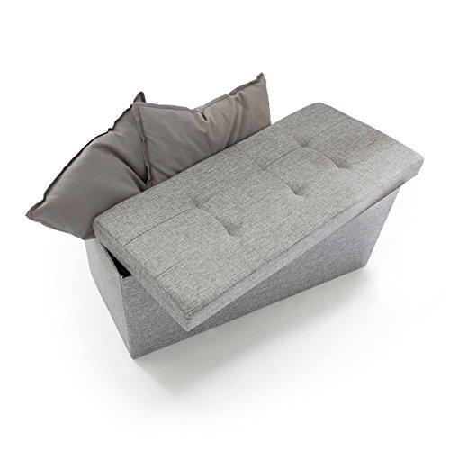 Relaxdays Faltbare Sitzbank XL 38 x 76 x 38 cm HxTxB stabiler Sitzcube mit praktischer Fußablage als Sitzwürfel aus Leinen als Aufbewahrungsbox mit Stauraum und Deckel zum Abnehmen für Wohnraum, grau
