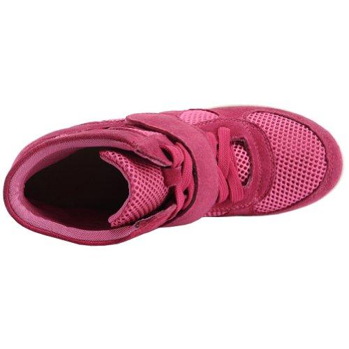 Generice Mujeres Wedge Hidden Heel Cute Nylon & Suede Fashion Sneakers Rose