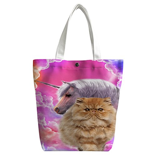 Violetpos Benutzerdefiniert Canvas Handtasche Einkaufstaschen Umhängetasche Schultasche Lunch-Tasche Buntes Wolken Einhorn Katzen Rosa pAi3iR