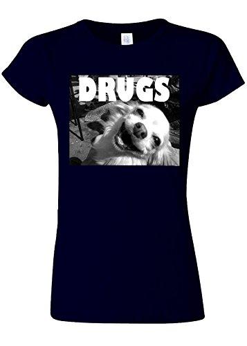 季節記述する結論Drugs High Funny Dog Weed Novelty Navy Women T Shirt Top-XXL