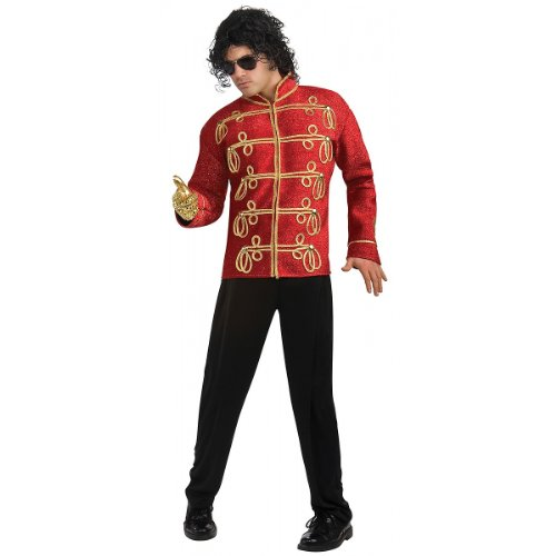 Michael Jackson Deluxe Military Jacket, Red, Small Costume