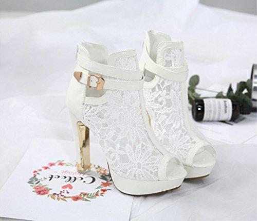 für Bequeme Zhzz Mädchen Bankett Reiner LIANGXIE Stiefel Cool und Absatz Kurzstiefel für in Damen für Weiß Sandalen Hohem mit Sexy Stiefel Farbe Ferse qOx1ZqHva