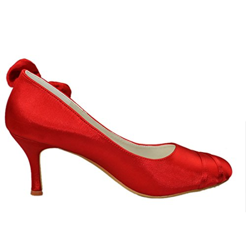 Pumps Toe Bowknot Minitoo Party Evening Womens Shoes Red Heel Wedding Closed Heel Satin 8cm GYAYL050 Bridal Stiletto nq4qTOA