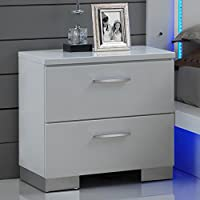 Saturn Nightstand in White Lacquer High Gloss Finish