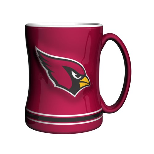 NFL Arizona Cardinals Sculpted Relief Mug, 14-ounce, Cardinal (Cardinals Coffee Mug)