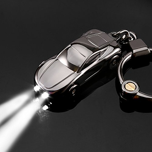 Key Chain Flashlight, Jobon Zinc Alloy Car Keychain with 2 Modes LED Light, Key Rings for Men, Women, Car Decorations, Perfect Christmas Gifts (Gray) (Car Key Keychain)