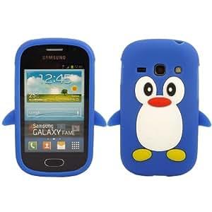 Penguin Silicona Caso Cubrir Concha Para Samsung Galaxy Fame S6810 / Blue